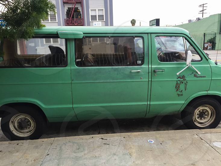 Mint green urban van in Los Angeles photo