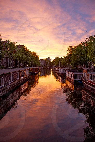 A stunning sunset taken in Amsterdam on the Brouwersgracht in May 2014. photo