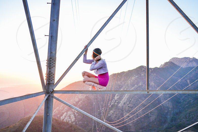 creativity exercise alone view sunset magic hour mountains climb 80s photo