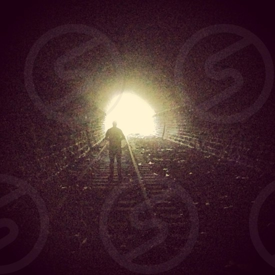 Tunnel light dark silhouette light at the end of the tunnel Miley    photo