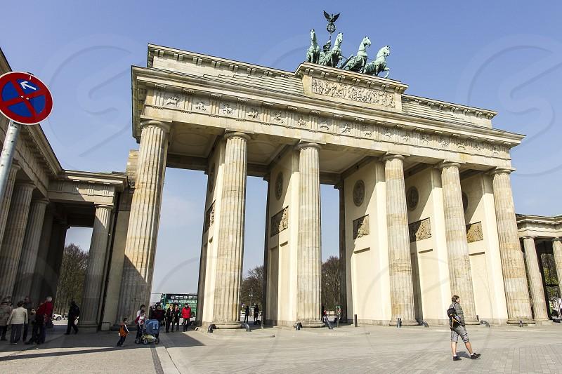 Brandenburg Gatein Berlin viewed form a low angle photo