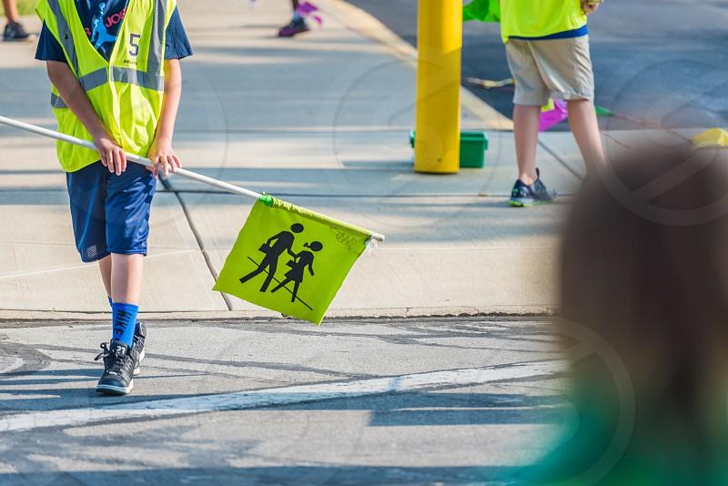 Safety patrol at a school cross walk. photo