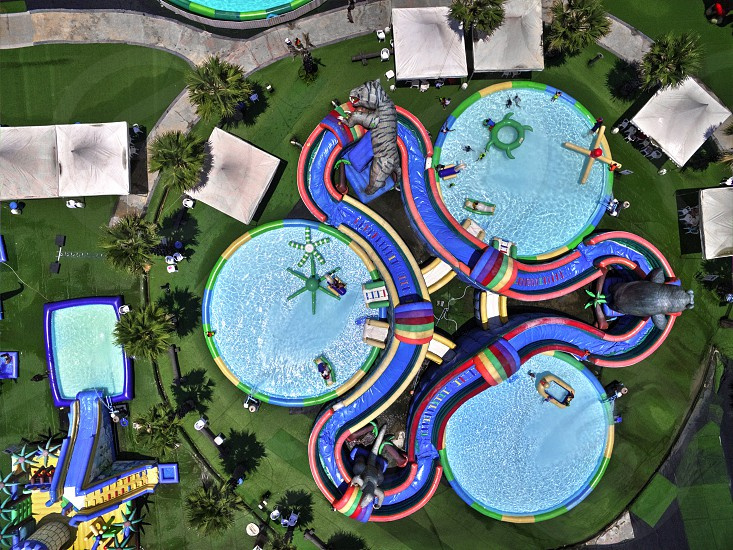 Aerial drone view from above of aquatic waterpark photo