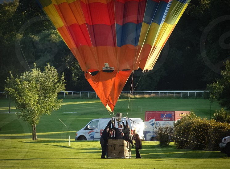 people about to ride a hot air balloon photo