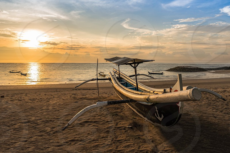 Boat on Kuta Beach. Bali. Indonesia. photo