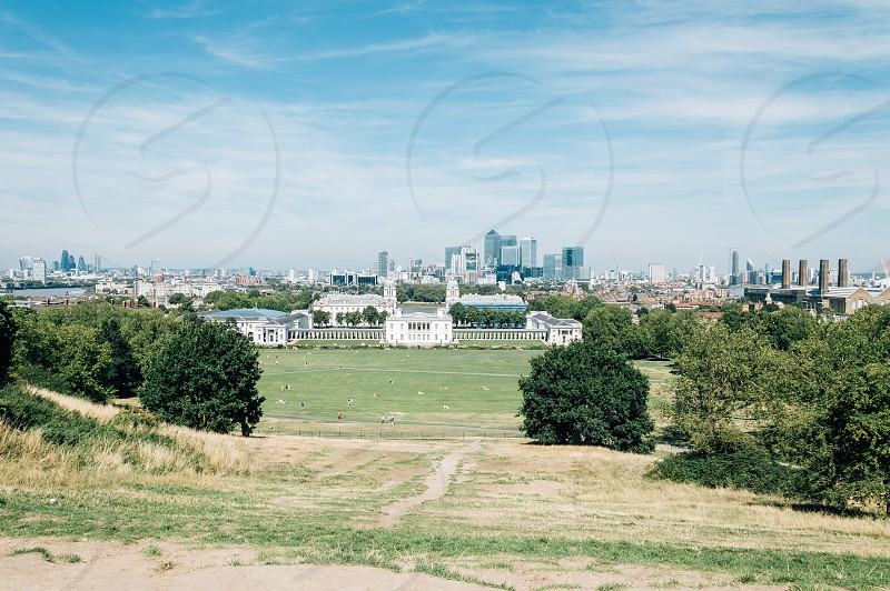 London cityscape from Royal Observatory Greenwich a sunny day of summer. photo