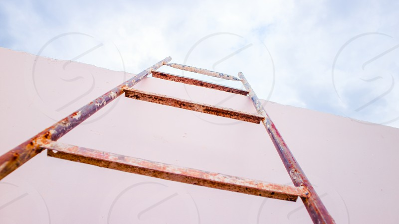 Stair on empty skyscraper roof with sky view in minimalism style. photo