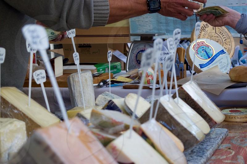 Farmer market cheese sales rustic goods photo