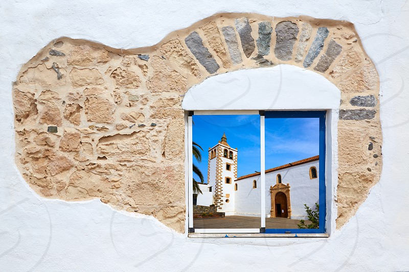 Fuerteventura white window photomount at Canary Islands of Spain photo