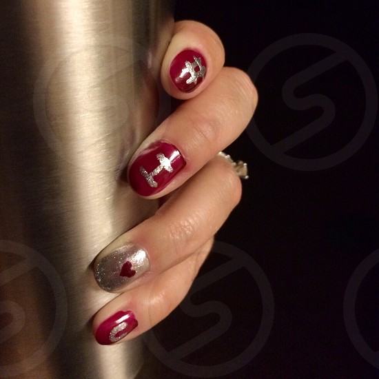 # I heart u nails red Crimson silver cup hand  photo