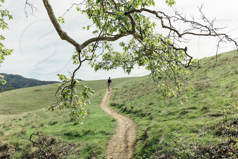 man walking on the hill photo