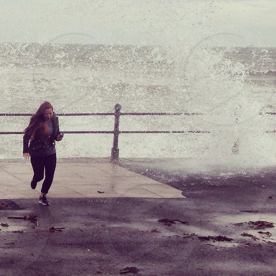 Penzance cornwall sea rough waves windy  photo