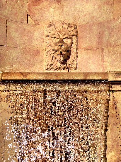 lion head embossed water fountain photo