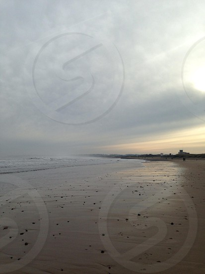 Blyth beach winter sun northumberland  photo