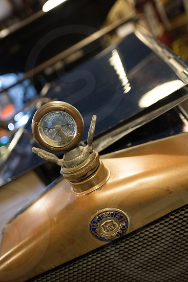 Morris Oxford Emblem and Radiator Temperature  Dial in the Motor Museum at Bourton-on-the-Water photo