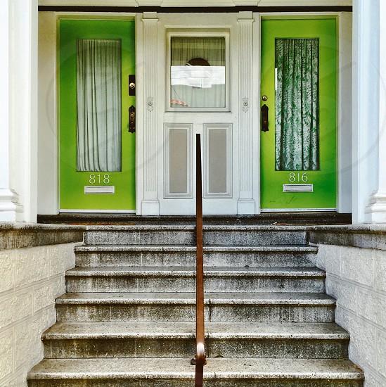 Stairs green doors photo