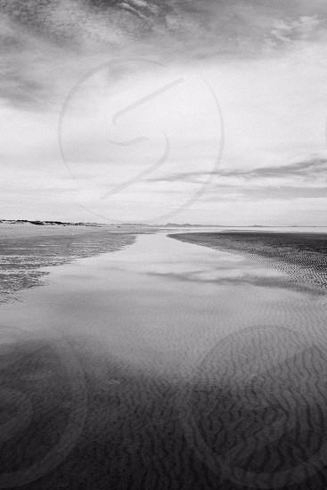 Black White Landscape Sky Sand Reflection Water Ocean Wallpaper photo