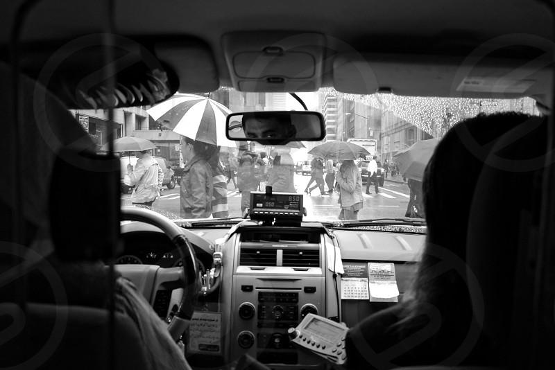 NYC. Manhattan. Taxi. Street. Rain.  photo