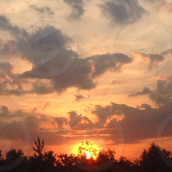 Sunset sky countryside England photo
