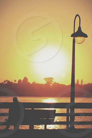 figure silhouetted on bench near fence and body of water with arched lamp post photo