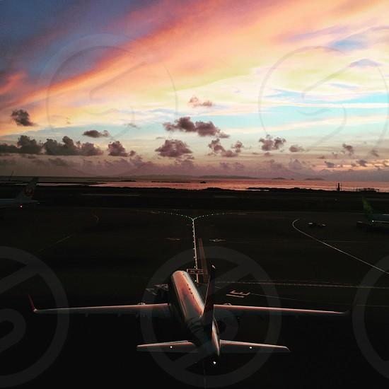 white airplane landing in landing area photo