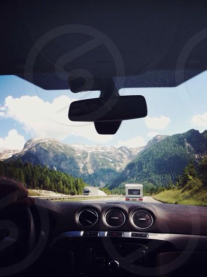 black car rear view mirror photo