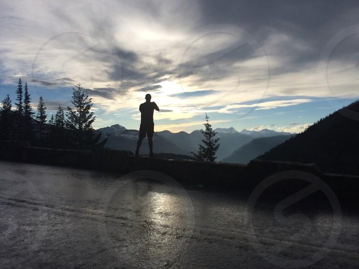 Silhouette photo taker smartphone landscape  photo