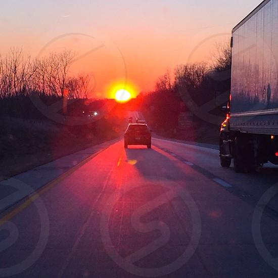 Sunset Evening Drive Fall Highway photo