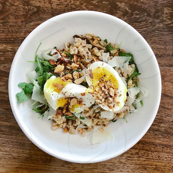 Salad with egg photo