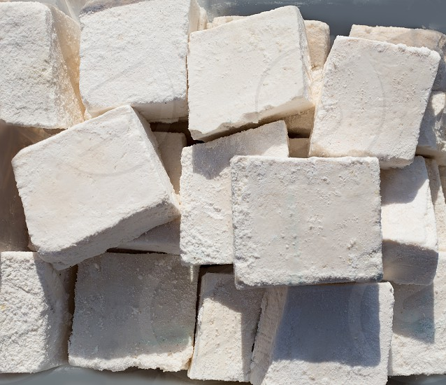 traditionally manufactured soap win white cubes pattern texture photo