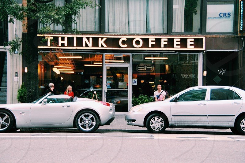 think coffee store sign photo