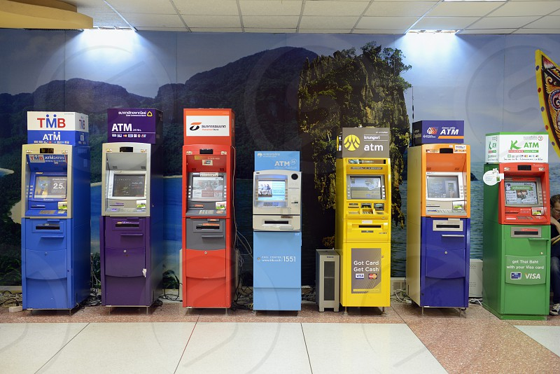 bank ATM at the airport of Phuket in Thailand in Suedostasien. photo