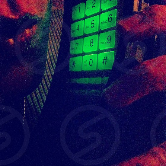 Green means glow telephone communication flow. photo