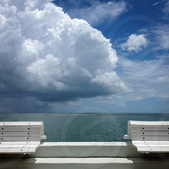 Summer thunderstorm over Corpus Christi Bay in South Texas photo