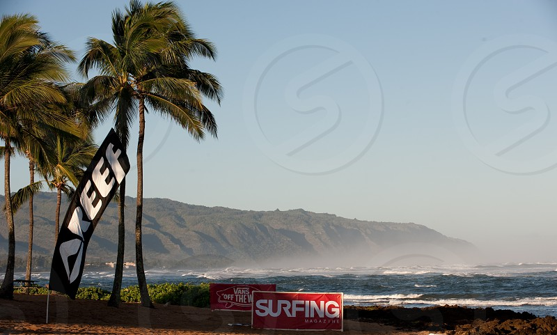 Beach Mountain Ocean Waves Surfing Palm Trees Hawaii Oahu North Shore photo