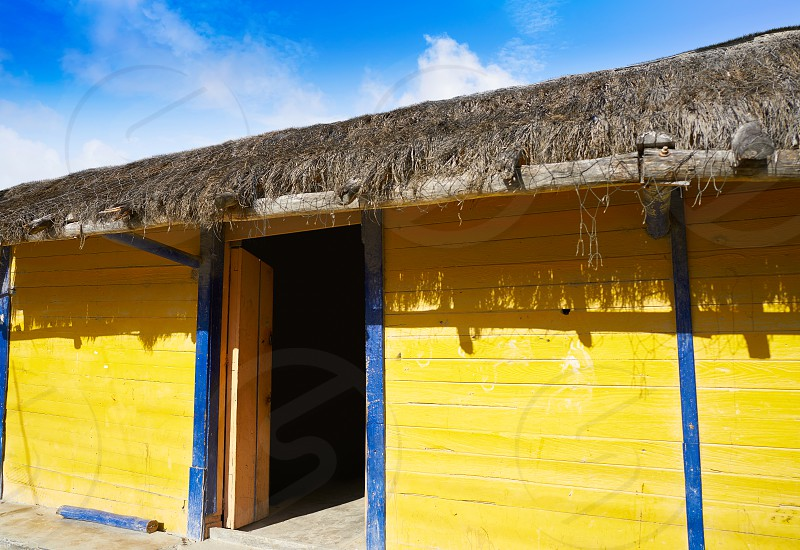 Holbox Island colorful Caribbean houses in Quintana Roo of Mexico photo