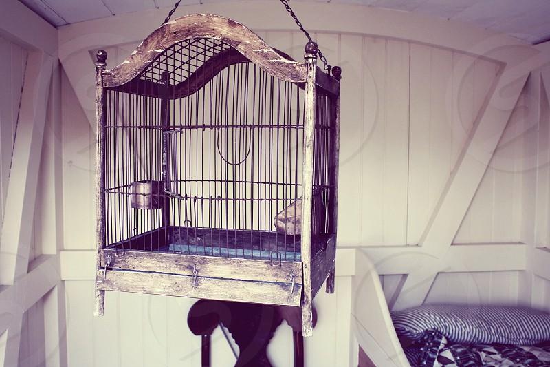 Bird cage and nautical New England decor. photo