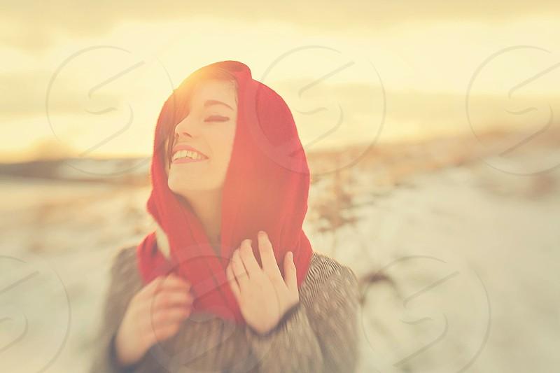 Sunset in winter #girl #smile photo