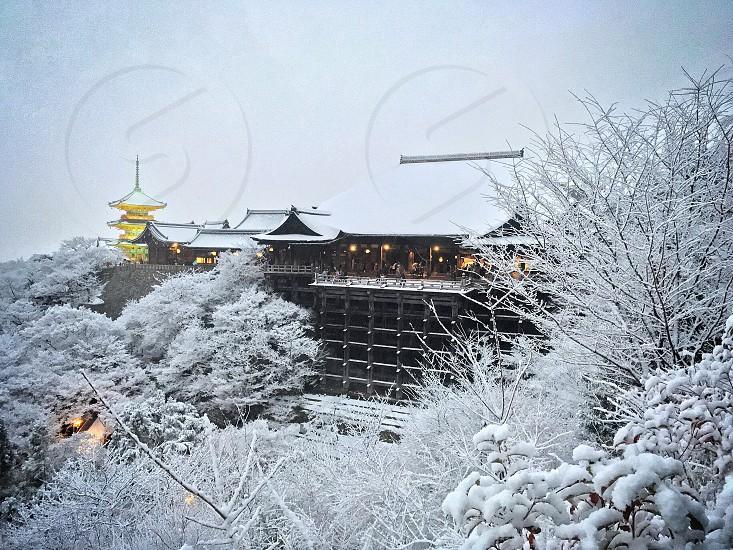 Winter snow destinations landscape wonderland Japan temple shrine travel tourism tourist vacation Asia weather oriental Japanese photo