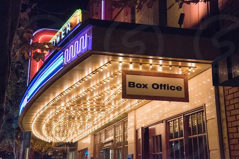 Theatre box office lights neon bend downtown photo