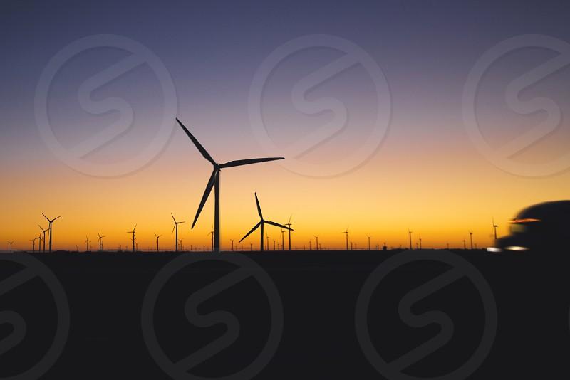 windfarm sunset 2 photo