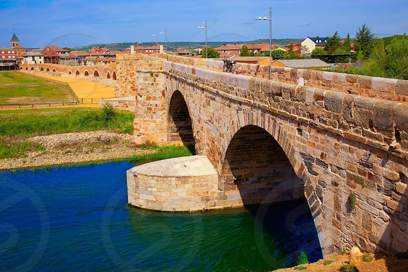 Orbigo river bridge Passo Honroso Saint James Way in Castilla Leon Spain photo