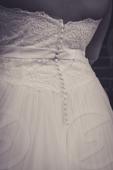 Detailed view of a wedding gown photo