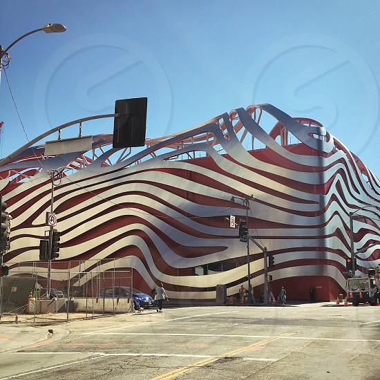 Los Angeles Petersen Automotive Museum Traffic Lights Street photo
