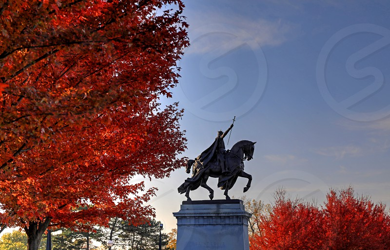 Fall foliage on Art Hill around the St. Louis Art Museum in St. Louis Missouri. photo