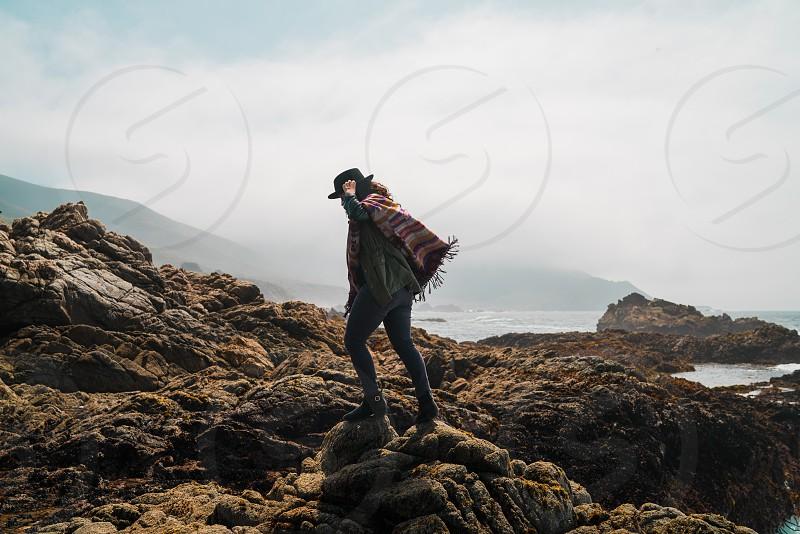 big sur california coast wanderlust woman girl rocks outdoors beach ocean pacific explore photo