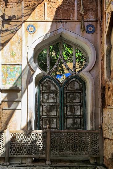 Doorway ornate decorative wooden entrance photo