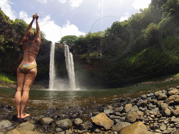 Wailua Falls Lihue Hawaii Waterfall Water Landscape Adventure Travel Yoga photo