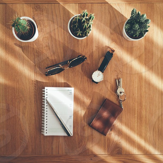 Tabletop shot of various everyday items photo
