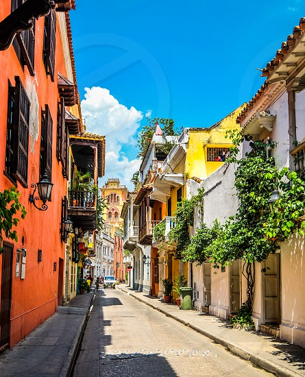 Colonial town at the Caribbean seaside in Colombia Cartagena photo